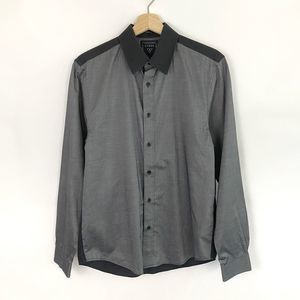 Mens Guess Long Sleeve Gray Black Button Down Top
